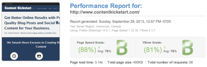 GTmetrix Performance Report on WPEngine Hosting with CDN